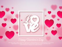 Valentines Day Design with Red Heart and Love Typography Letter on Shiny Pink Background. Vector Wedding and Romantic. Theme Illustration for Greeting Card Stock Image