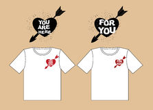 Valentines day. Design t-shirts for lovers. Heart and arrow of C Stock Photography