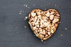 Valentines  day dessert. Heart  shaped chocolate cake. Stock Photo
