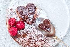 Valentines day dessert with heart shaped chocolate cake Stock Photography
