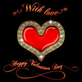 Valentines day Diamond heart text Royalty Free Stock Images