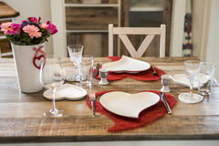 Valentines day dinner setting romantic love for two wooden table red heart shape Copy space Stock Image