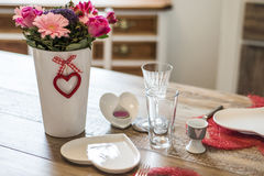 Valentines day dinner setting romantic love for two wooden table red heart shape Copy space. Valentines day dinner with setting romantic love for two wooden Royalty Free Stock Images