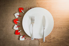 Valentines day dinner with table setting Royalty Free Stock Photography