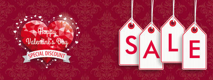 Valentines Day  Discount Header Ornaments Price Stickers Sale Royalty Free Stock Photos