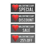 Valentines Day discount web buttons Stock Photo