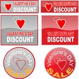 Valentines Day discount web buttons Stock Photos