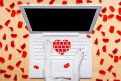 Valentines day dog, dating online on a chat. Dog office worker in  love on happy valentines day,  typing in a  pc computer laptop,  isolated on desk  background Stock Photography