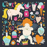 Valentines Day Doodle Collection Stock Images