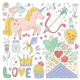 Valentines Day Doodle Collection Stock Photography