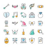 Valentines Day Doodle Icons Pack stock illustration