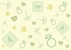 Valentines day doodle pattern. Valentines day pattern. It has hearts, picture frames, diamond rings, flowers and dandelions. It can be used as a card or a Stock Images