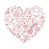 Valentines Day Doodles in heart shape Royalty Free Stock Photos