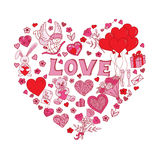 Valentines Day Doodles in heart shape Royalty Free Stock Photo