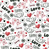 Valentines day doodles seamless pattern. Kissing birds, flying hearts, Love scribbles in red and black. Repeating hand