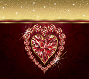 Valentines day with elegant ruby heart Stock Images