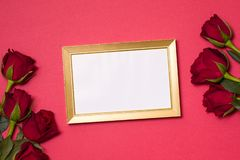 Valentines day,empty frame, romantic seamless red background,gift,red roses,free copy text space. Empty frame, romantic seamless red background,gift,red roses stock images
