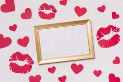 Free Valentines Day,empty Frame,seamless White Background,kisses,hearts,message,free Copy Text Space Royalty Free Stock Photos - 135869938