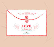 Valentines day envelope greeting card Royalty Free Stock Photo