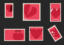 Valentines day envelope stamps Royalty Free Stock Photo