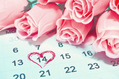 Valentines day, 14 February on Calendar page. Stock Images
