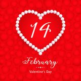 Valentines day, 14 February, hearts and pearl. 14 February, calendar date in heart with pearl on red hearts background, Valentines Day greeting card, Happy Stock Image