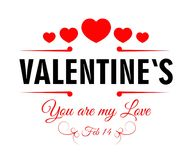 Valentines day February 14 promotional poster with hearts. Valentines day February 14 promotional poster with you my love sign in italic and row of red hearts Stock Photos