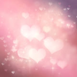 Valentines day festive bokeh background. Valentines day abstract background with  bokeh lights and stars Stock Images
