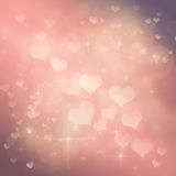 Valentines day festive bokeh background. Valentines day abstract nature background with  bokeh lights and hearts Stock Photography