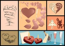 Valentines day festive set. With hearts and balloons Royalty Free Stock Photo