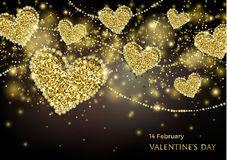 Valentines Day Festive Sparkle Banner. Luxury Valentines Day Festive Sparkle Banner. Glitter Gold Hearts With Diamond Outlines On Black Background. Greeting Royalty Free Stock Photo