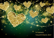 Valentines Day Festive Sparkle Banner. Luxury Valentines Day Festive Sparkle Banner. Glitter Gold Hearts With Diamond Outlines On Black-And-Green Background Royalty Free Stock Photos