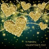 Valentines Day Festive Sparkle Banner. Luxury Valentines Day Festive Sparkle Banner. Glitter Gold Hearts With Diamond Outlines On Black-And-Green Background Royalty Free Stock Photo