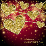 Valentines Day Festive Sparkle Banner. Luxury Valentines Day Festive Sparkle Banner. Glitter Gold Hearts With Diamond Outlines On Black-And-Red Background Stock Photo