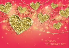 Valentines Day Festive Sparkle Banner. Luxury Valentines Day Festive Sparkle Banner. Glitter Gold Hearts With Diamond Outlines On Pink Background. Greeting Card Royalty Free Stock Images