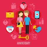 Valentines Day Concept. Valentines day flat concept with romantic atmosphere and two people in love vector illustration Royalty Free Stock Images