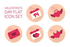 Valentines day flat icon set Stock Images