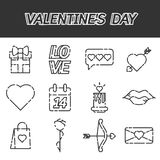 Valentines Day flat icons set. Vector illustration, EPS 10 Stock Image
