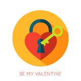Valentines day flat isolated icon. Be my valentine. Greeting card. Vector illustration vector illustration