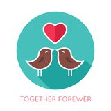 Valentines day flat isolated icon. Together. Forewer greeting card. Vector illustration vector illustration