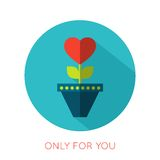 Valentines day flat isolated icon. Only for you. Greeting card. Vector illustration vector illustration