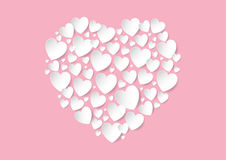 Valentines Day flat lay with white vector paper hearts on pink background. Love concept Royalty Free Stock Image
