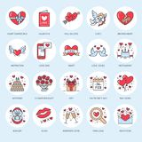 Valentines day flat line icons. Love, romance symbols - heart, engagement ring, wedding cake, Cupid, romantic date Royalty Free Stock Photos