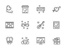 Valentines Day flat line icons set. Valentines day theme. Romantic gift, messages, propose. Love store sign. Set of simple black line icons. Elements for web Royalty Free Stock Photos