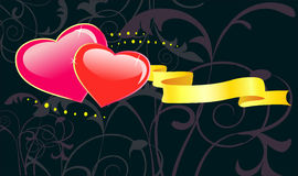 Valentines day floral background with heart. Stock Photos