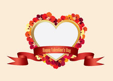 Valentines Day Floral Greeting Card. Flower frame with love hear Stock Image