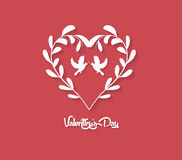 Valentines day Floral Heart on Red Background Royalty Free Stock Photos