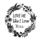 Valentines Day floral wreath with text Stock Images