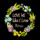 Valentines Day floral wreath with text Royalty Free Stock Image
