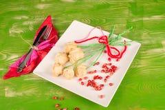 Valentines day flower snack stock photos